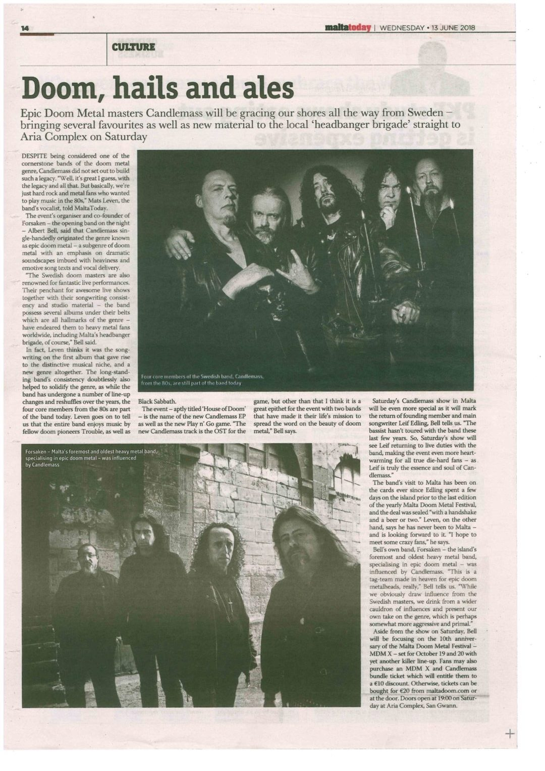 Candlemass concert featured in Maltatoday's local newspaper